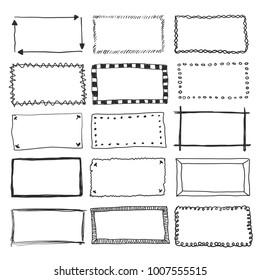 Hand drawn vector border frame doodles