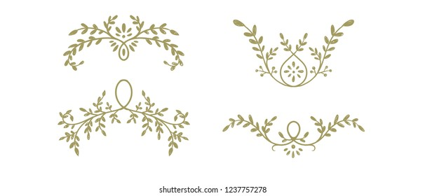Hand drawn vector branches with leaves, for wedding decoration.