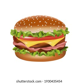 Hand drawn vector bread burger illustration with meatloaf tomato vegetarian dish, white background, delicious food for lunch and dinner, fast food,