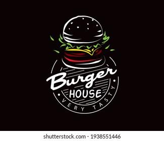 Hand drawn vector burger logo on black background