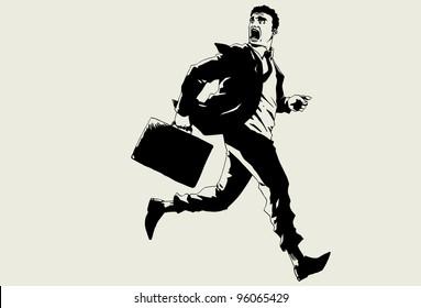 Hand drawn vector business man running.
