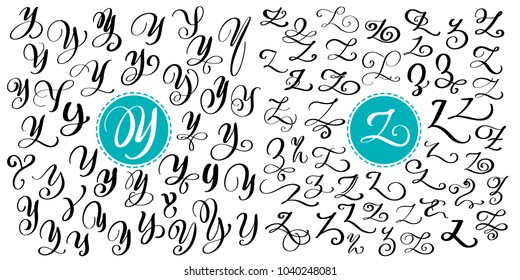 Hand drawn vector calligraphy letter Y, Z. Script font. Isolated letters written with ink. Handwritten brush style. Hand lettering for logos packaging design poster.