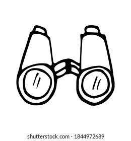 Hand drawn vector camping binoculars doodle clipart. Isolated on white background drawing for prints, poster, cute stationery, travel design. High quality illustration