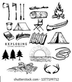 Hand Drawn Vector Camping Stuff