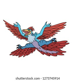 Hand drawn vector cartoon flying Microraptor for dinosaur related design and stuff