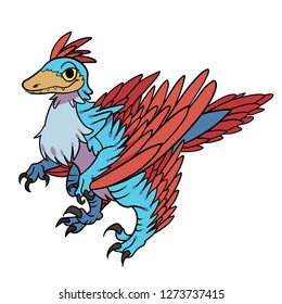 Hand drawn vector cartoon Microraptor standing by for dinosaur related design and stuff