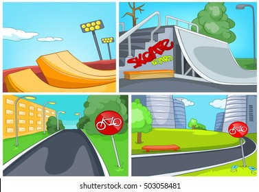 Hand drawn vector cartoon set of sport city infrastructure. Colourful cartoons of skatepark and bicycle lane backgrounds. Background of bike lane in the city. Background of playground for skateboard.