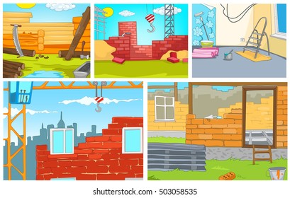Hand drawn vector cartoon set of construction site. Colourful cartoons of backgrounds of construction sites. Cartoon background of building urban and rural houses. Background of apartment renovation.