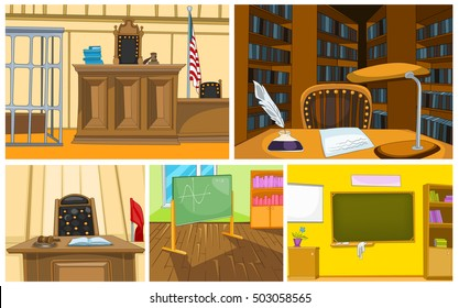 Hand drawn vector cartoon set of court and schoolroom interiors. Colourful cartoons of court and schoolroom backgrounds. Background of courtroom interior. Background of classroom and library interiors