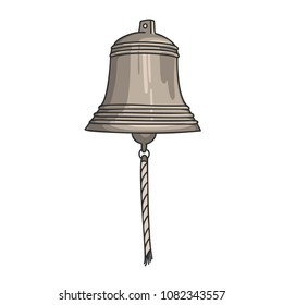 Hand drawn vector cartoon ship bell isolated on white background