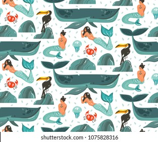 Hand drawn vector cartoon summer time underwater illustrations seamless pattern with coral reefs,jellyfish and beauty bohemian mermaid girl characters isolated on white background.