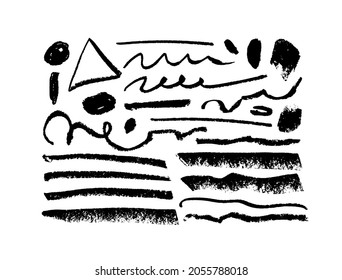 Hand drawn vector chalk or charcoal lines. Black paint brush strokes collection. Doodle lines with grunge circles. Coal stain for banner, background. Scribble black smudges, dirty brushstrokes
