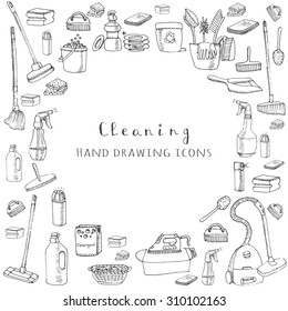 Hand drawn vector cleaning service icons, Cleaning symbols, tools, Detergent, iron, mop, dust pan, brushes bleach, duster, washing liquid, vacuum cleaner, doodle icons, sketch