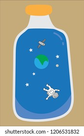 hand drawn vector clear glass bottle contain space, earth, satellite and spaceman inside