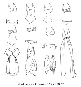 Hand drawn vector clothing set. Different models of beachwear isolated on white.