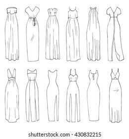 Hand drawn vector clothing set. 12 models of trendy maxi dresses isolated on white. (part 2)