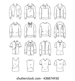 Hand drawn vector clothing set isolated on white. 16 models of trendy mens tops.