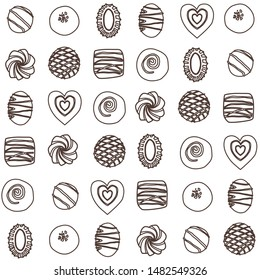 Hand drawn vector collection chocolate candies. Vector bonbon seamless pattern. Background with milk, dark and white chocolate pralines.  Vector isolated cocoa production. Outline Background