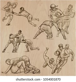 An hand drawn VECTOR collection of RUGBY sport. Pack of some sportsmen in different situations. Hand drawings, line art technique, freehands.