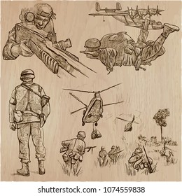 An hand drawn VECTOR collection of SOLDIERS in different situations. Private, Brothers in Arms, Army. Warriors around the World. Hand drawings, freehand sketching. Line art technique.