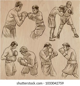 An hand drawn vector collection of sporting event. Box. BOXING sport. Set of some sportmen, boxers. Hand drawings. Line art technique.