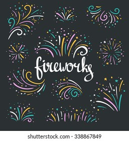 Hand drawn vector colorful Christmas fireworks on dark background