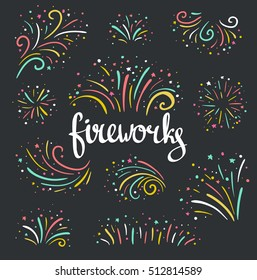 Hand drawn vector colorful Christmas fireworks on the dark background