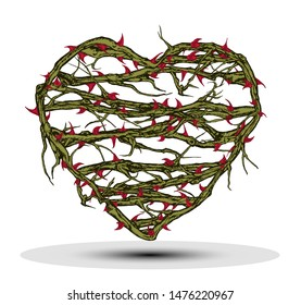 Hand drawn vector concept illustration of briar patch heart with stems and thorns.
