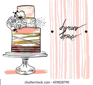 Hand drawn vector cute birthday or wedding template card with cake illustration in gold,pastel,black and white colors,with stripes and flowers decoration on cake stand isolated on white background