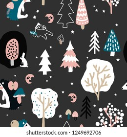 Hand drawn vector cute cartoon seamless pattern illustration hedgehog and bunny with mushrooms, tree, moon and stars for baby textile, cloth, linen texture, wallpaper or home decoration