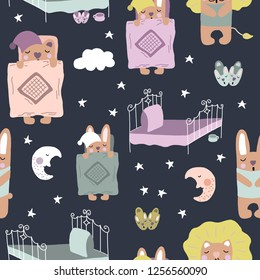 Hand drawn vector cute cartoon pastel color print illustration sleeping animals, moon, stars, slippers and bed for baby textile, t shirt, linen, wallpaper texture on the dark blue background