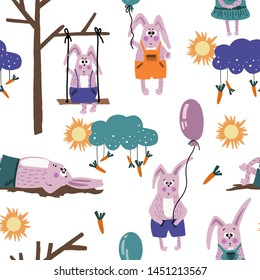 Hand drawn vector cute cartoon seamless pattern pastel color illustration pink bunnies with carrot and balloon on the white background