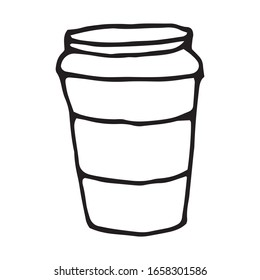 Hand drawn vector cute coffee mug. Doodle style. Black outline isolated on white. Design for greeting cards, scrapbooking, textile, wrapping paper, cafe or restaurant menu, food infographic.