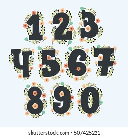 Hand drawn vector cute floral numbers with decor. Numbers made of flowers and in vintage colors. signs in vector with wreath. Hand drawn elements for your design and greeting card