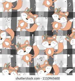 Hand drawn vector Cute seamless pattern with Cute Fox