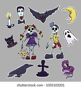 Hand drawn vector cute set of stickers. Zombie, vampire, black cat, ghost, raven, snake, moon crescent.  Halloween theme. Cartoon patch badges.