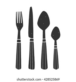 Hand drawn vector cutlery on the white background. Doodle kitchen elements