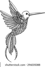 Hand drawn vector decorative hummingbird illustration. Colibri drawing  with doodle line ornaments
