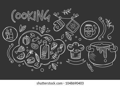 Hand drawn vector design of cooking ingredients and kitchen utensils for preparation dishes. Food and drink. Culinary theme. Decorative elements for recipe book. Trendy sketch style