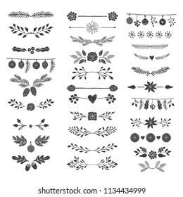 Hand drawn vector dividers, flourishes, embellishments. Fancy vines, laurels, wreaths.