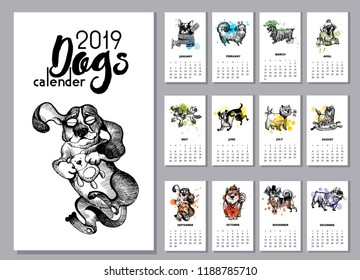 Hand drawn vector dogs calender.