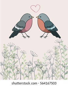 Hand drawn vector doodle birds and herbs