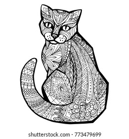 Hand drawn vector doodle cat. Design Zentangle. Sketch for adult antistress coloring page, tattoo, poster, print, t-shirt, invitation, cards, banners, flyers, calendars