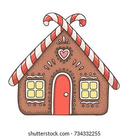 Hand drawn vector doodle gingerbread house