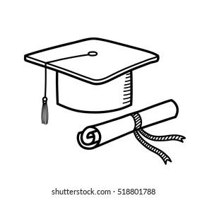 A hand drawn vector doodle illustration of a graduation cap and a diploma.