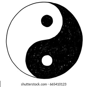 Hand drawn vector doodle illustration of yin yang jin jang symbol.