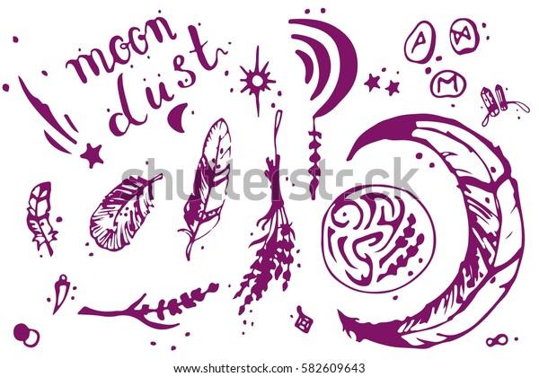 "Hand drawn vector doodle ""Moon dust"". Illustration set moon, feathers, runes, stars, symbols. Vintage decoration for postcards background."