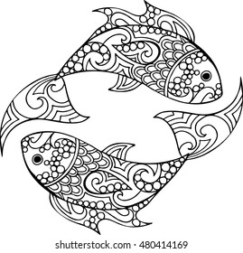 Hand drawn vector doodle pisces illustration. Decorative ornate fish drawing