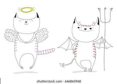 Hand Drawn Vector Doodles Of Cute Funny Angel Cat And Devil Isolated Unfilled Outlines