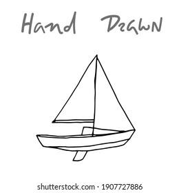 hand drawn vector drawing of a sailboat. small yacht vector sketch